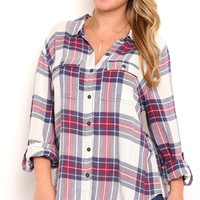 Plus Size High Low Vintage Flannel Top with Roll Tab Sleeves