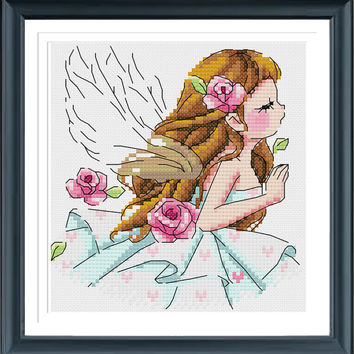 Aain Girl RW2143, Modern  Cross Stitch Pattern PDF, Instant Download
