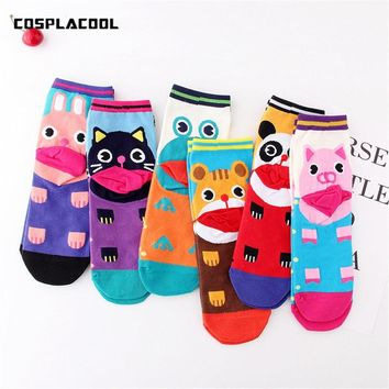 Cartoon Jacquard Pig Frog Cat Animals Short Cute Socks meias Women Winter Fashion Christmas Socks Gift Funny Socks Calcetines