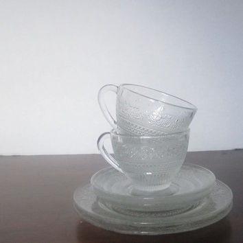 Clear Embossed Glass Tea for Two Set - Six - Made in Malaysia