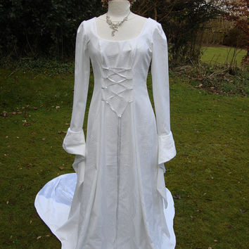 Celtic Galadriel White goddess medieval renaissance lotr Handfasting wedding gown / dress 8 TO 14