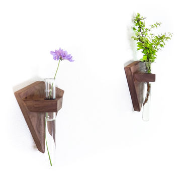 Walnut Bud Vase, Wall Mounted