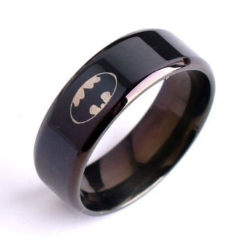 Unisex Men Women Ring Black Batman Titanium 316L Stainless Steel Polished Ring = 1928049796