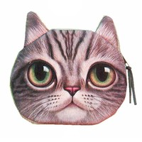 Realistic Big Eyed Kitty Cat Tabby Face Shaped Soft Fabric Zipper Coin Purse Make Up Bag