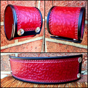 Red and black leather handmade cuff