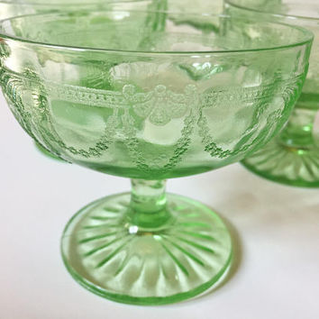 Green Depression Glass Sherbet Cups Anchor Hocking Cameo Ballerina Set of 6
