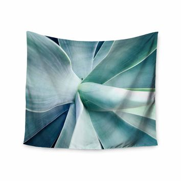 Succulant - Green Teal Nature Photography Wall Tapestry