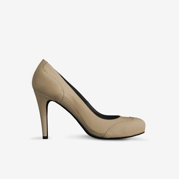 Levi Thang British High Heel Italian Leather Shoes Taupe
