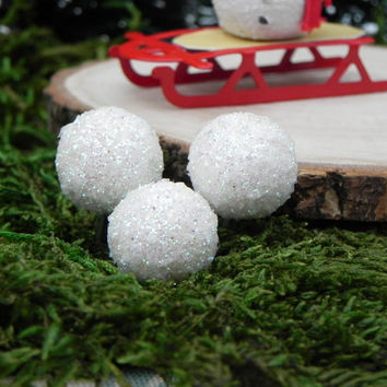 Miniature Fairy Garden Snowball accessories for terrarium craft supply set of three