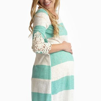 Mint Striped Knit Crochet Accent Maternity Top