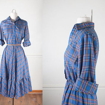80s Does 50s Dress / Western Shirt Dress with Pearl Snaps / Shirtwaist Dress / Vintage Plaid Dress / 50s Style Dress / Pin Up Shirt Dress