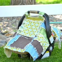 CARSEAT Cover Canopy, Rag Quilt, Brown, Blue, Green, Ready to Ship
