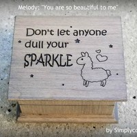 llama, sparkle, inspirational, for daughter, for girls, music box, birthday gift, You are so beautiful to me, last minute gift, cool gifts
