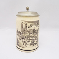 Vintage German Beer Stein, Original King Beer Mug,  Beer Mug/Stein, German Lidded Beer Stein