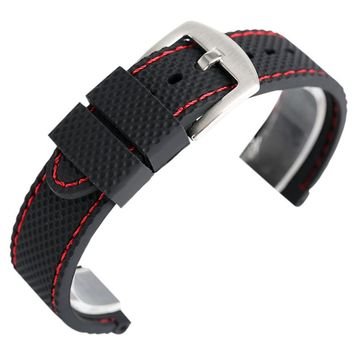 18mm 20mm 22mm 24mm Black Blue Silicone Watchband Sport Military Bracelet Pin Buckle Watch Strap for Wristwatches + Spring Bars