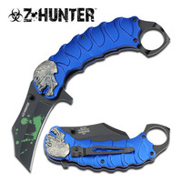 SKULL TACTICAL BLUE ASSISTED OPENING KNIFE WITH FINGER RING