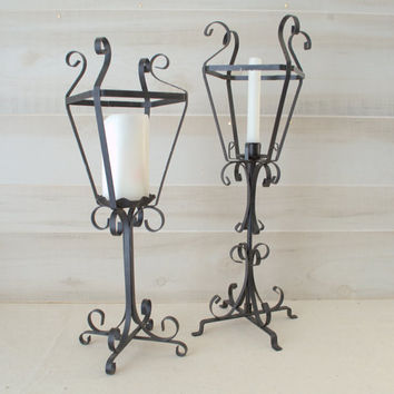 Wrought Iron Candle Lanterns, Black Wrought Iron Candle Holder, Vintage Wrought Iron Candlestick Holder