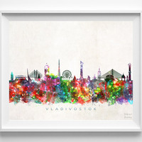 Vladivostok Skyline Print, Russia Print, Vladivostok Poster, Cityscape, Wall Decor, City Skyline, Living Room Decor, Christmas Gift