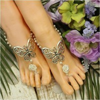 BUTTERFLY - barefoot sandals - white rose (ooak)