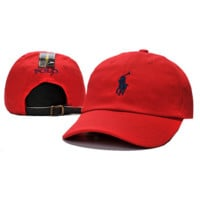 Unisex Red Polo Logo Embroidered Baseball Cap Hat