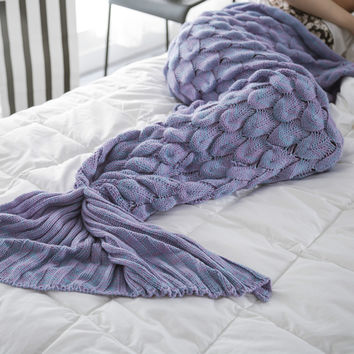 High Quality Knitted Mermaid Tail Blanket Handmade Crochet Mermaid Blanket Kids Throw Bed Wrap Super Soft Sleeping Bed [9595849679]