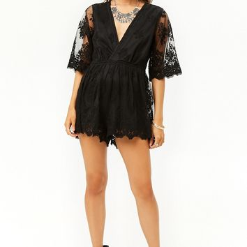 Embroidered Tulle Romper