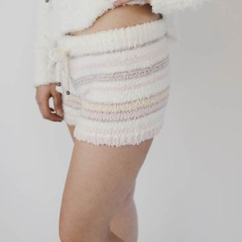 Striped Fleece Shorts Lounge Wear - White