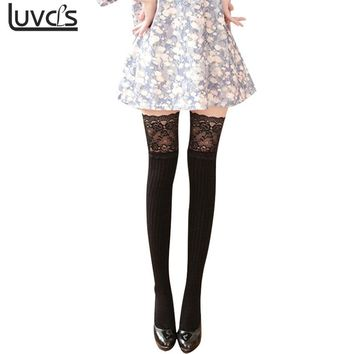 LUVCLS 3 Colors Women Lace Knitting Cotton Over Knee Thigh Stockings High Stocking Pantyhose Tights
