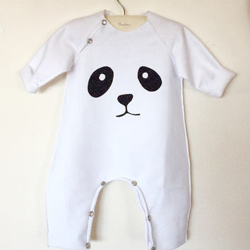 Adorable Panda Romper - Panda bodysuit - Unisex - Soft Cotton - Sizes for baby and toddler Newborn to 2T