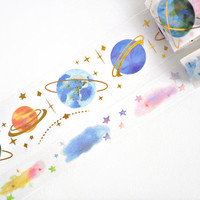 Planets in Space Washi Tape, Gold Foil Washi Tape - WT475