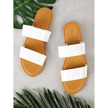 Patent Double Band Slide Sandal