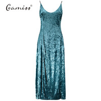 Vintage Maxi Dresses Green Sexy V-neck Party Dress Spaghetti Strap Long Velvet Vestidos Side Split Robes