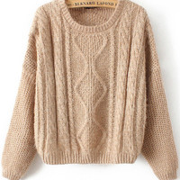 Khaki Long Sleeve Cable Knit Mohair Sweater - Sheinside.com