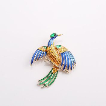SKEINS Colorful Enamel Bird Brooches Kids Lady Animal Brooch Corsage Clips For Suit Denim Jacket Jewelry Pins Broche Women