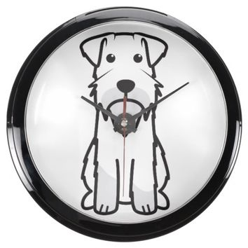 Miniature Schnauzer Dog Cartoon Aquarium Clock