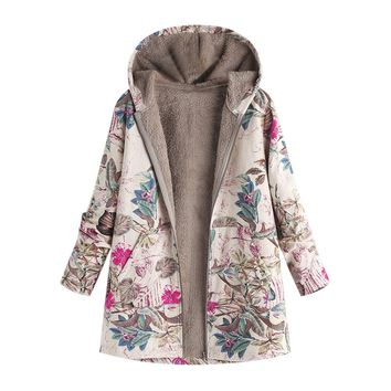 Hot Women Winter Warm Floral Hooded Jacket Flower Print Hoody Vintage Oversize Coats Winter Padded Jacket Women Parkas #O
