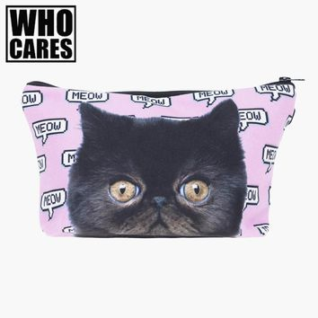 Meow Pink Cat Cosmetic Bag