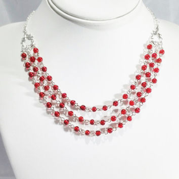 Beaded  Necklace  Silver Necklace  Beaded Jewelry Gift For Her Chain Necklace Choker Red Necklace Layered Necklace Draped Necklace Wedding