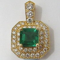 Emerald Pendant, Diamond Pendant, Pave Pendant, 18K Yellow Gold with Fine Emerald, May Birthstone