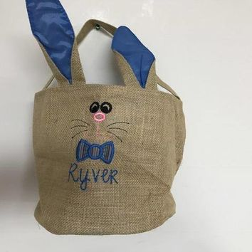 Personalized Bucket Tote Royal Blue Burlap Bunny Face Basket