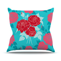 "Anneline Sophia ""Summer Rose Red"" Blue Aqua Throw Pillow"