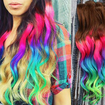 Neon Dream Clip In Hair Extensions, Ombre Hair,  Tie Dye Tips,  Hair Wefts, Human Hair Extensions, Hippie hair