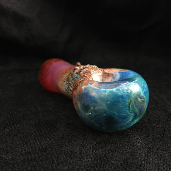 Hawaiian Nights Color Changing Blue, Crimson, Magenta and Rust Glass Pipe