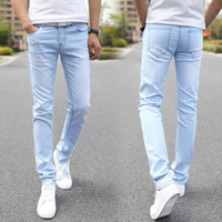Men Elastic Casual Straight Jeans 2016 New Mid Cowboy Pants Skinny Blue Men Brand Jeans Stretch Jeans Men Hot Size 27-36 rwy801