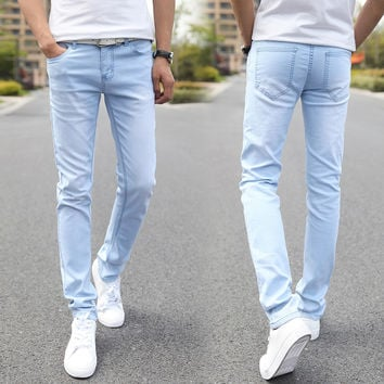 Men's Elastic Casual Straight Mid Cowboy Skinny Blue Stretch Jeans