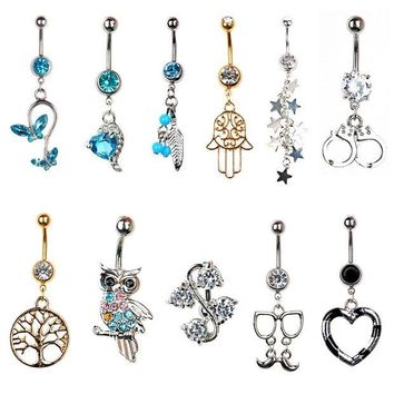 ac DCCKO2Q Sexy Body Piercing Navel Body Jewelry Dangle Flower Heart Tree of Life Crystal Navel Bell Button Rings