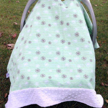 Infant - baby - girl- boy- gender neutral- Mint and Gray Dandelion and White Minky Trimmed Carseat Cover -carseat canopy