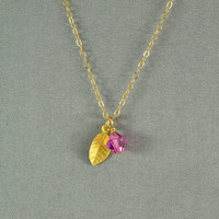 Vermeil Leaf Charm and SWAROVSKI Crystal Bead Necklace, 14K Gold Fill Chain, Beautiful Necklace
