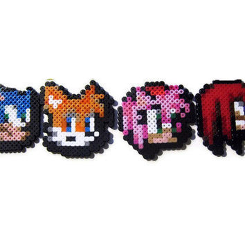 Set of 4 Sonic the Hedgehog Battle Icon Magnet Bead Sprites - Sonic, Tails, Amy, Knuckles