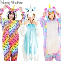 Pink Unicorn Pajamas Sets Flannel Animal Pajamas Winter Nightie Stitch unicornio Sleepwear for Women Men Adults